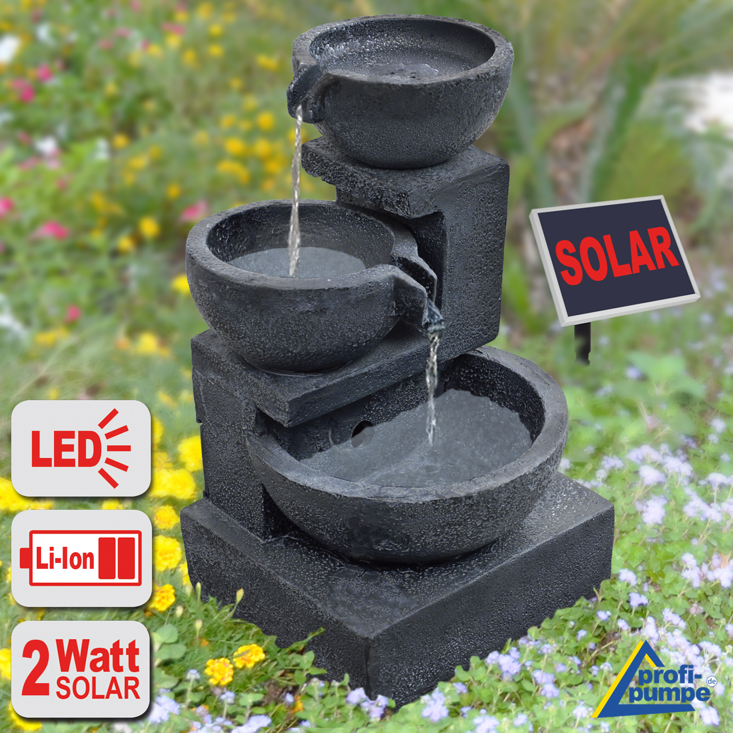 solar brunnen granitschalen kaskade 2 mit liion akku und led licht. Black Bedroom Furniture Sets. Home Design Ideas