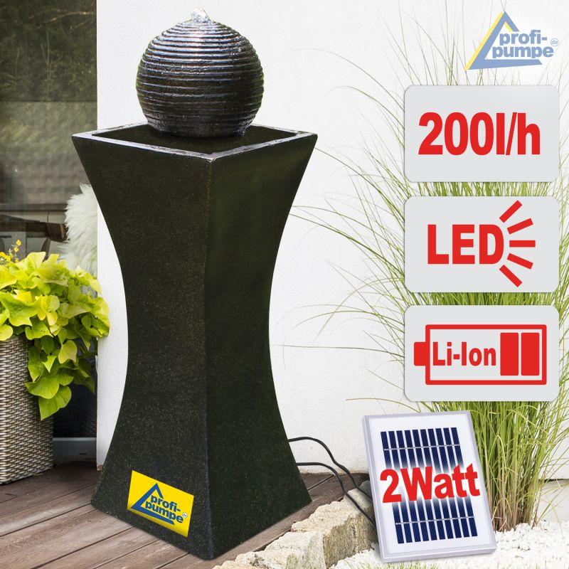 Solar Gartenbrunnen ELEGANTIA Quellkugelbrunnen mit LED-Licht und Li-Ion-Akku