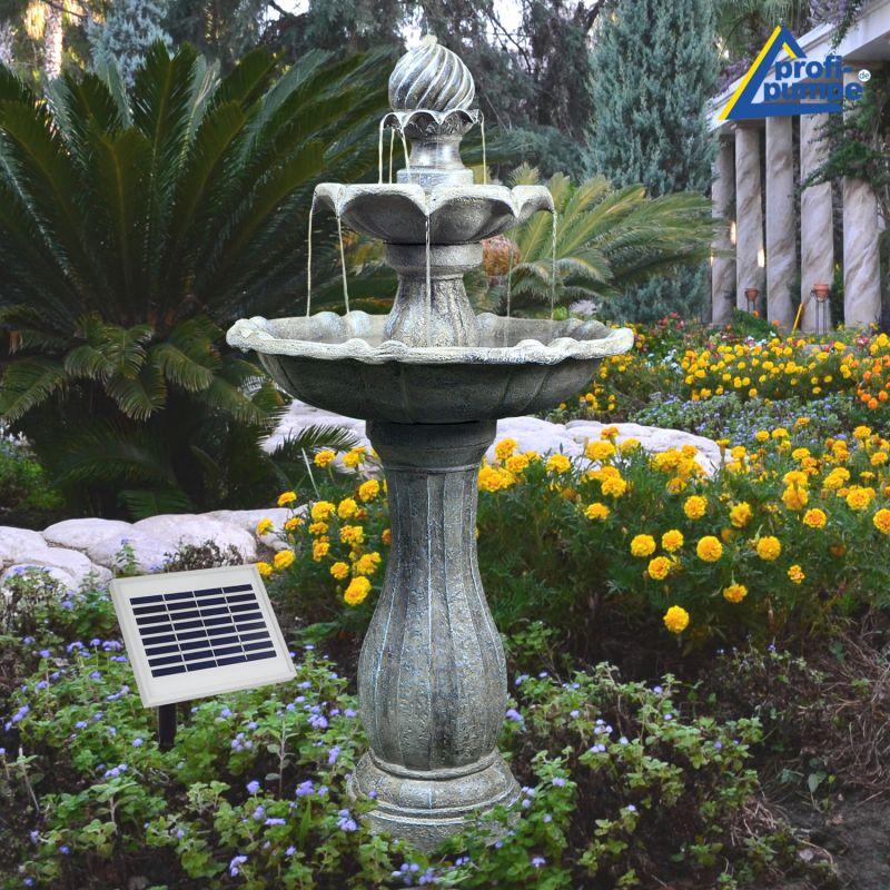 Solar Brunnen Klassik Garten Mit Liion Akku Led Licht