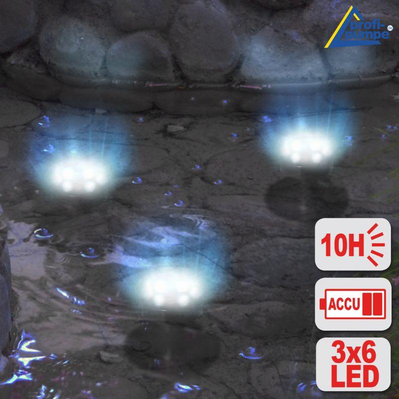 NEU! SOLAR LED-TEICHSTRAHLER-SET, UNTERWASSERSTRAHLER, TEICHBELEUCHTUNG für besondere ATMOSPHÄRE im GARTEN, TEICH, BALKON, TERRASSE