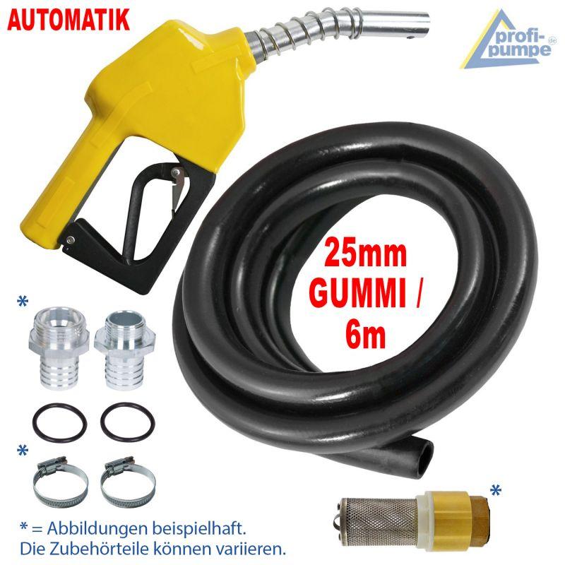 Dieselpumpen-Zubehör-Set:  Automatik-Zapfpistole für Dieselpumpen und Wasserpumpen, Gummi-Schlauch, Rückschlagventil, Tüllen und Schlauch-Schellen