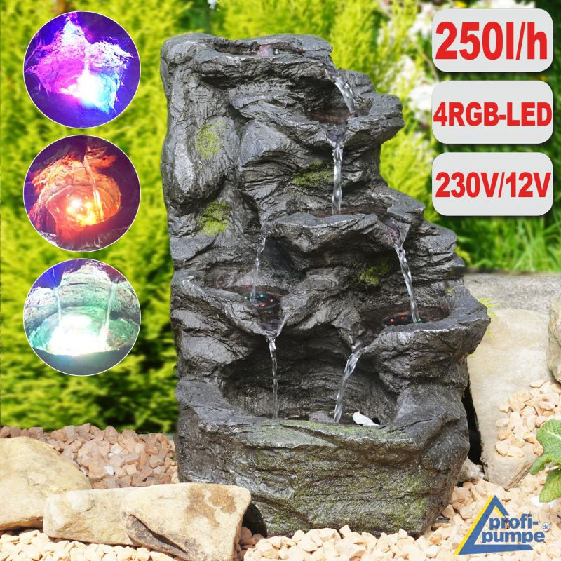 Gartenbrunnen FELS-KASKADE mit 4 RGB LED-Licht-230V