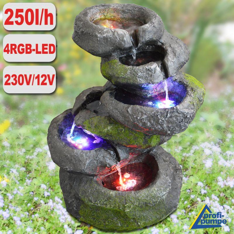 Gartenbrunnen FELS-KASKADE geschwungen mit 4 RGB LED-Licht-230V