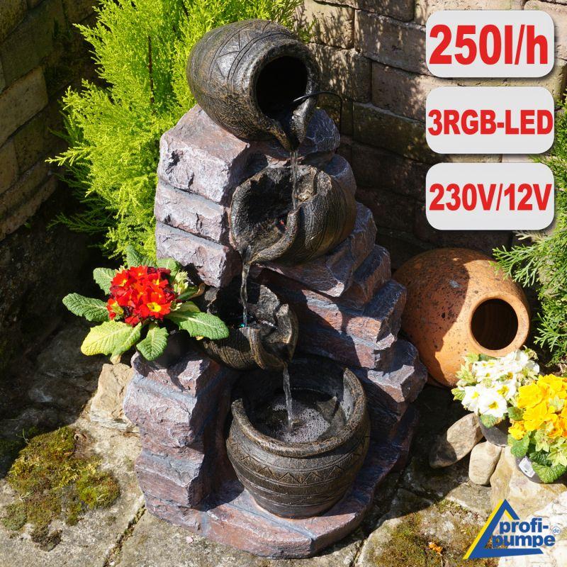 Gartenbrunnen TONZIEGEL & KRÜGE mit 4 RGB LED-Licht-230V