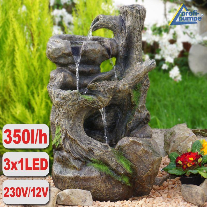 Gartenbrunnen BAUMWURZEL & STEIN-KASKADE mit LED-Licht