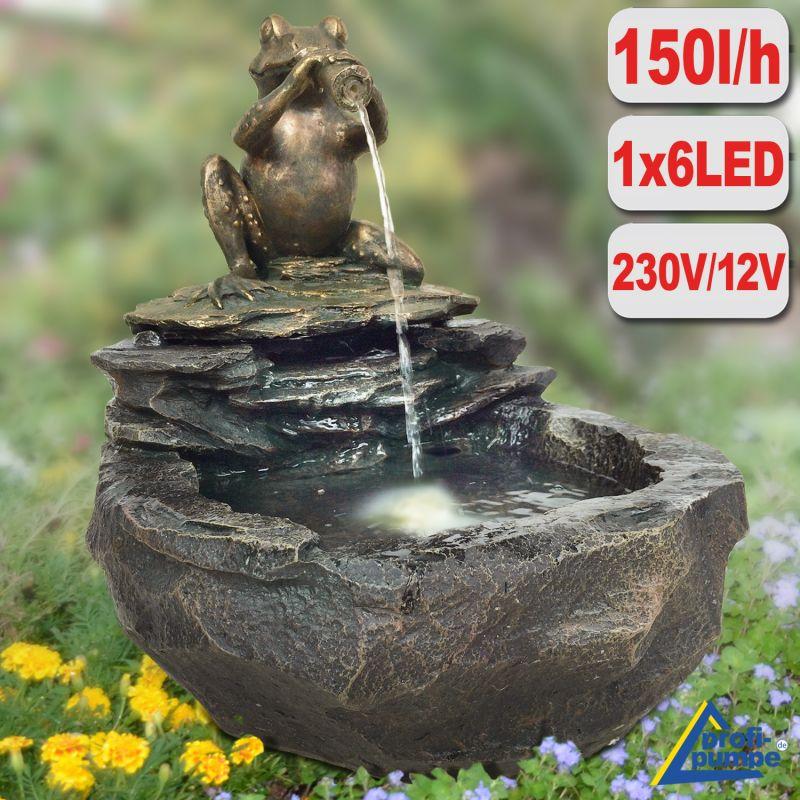 Gartenbrunnen DURSTIGER FROSCH mit LED-Licht