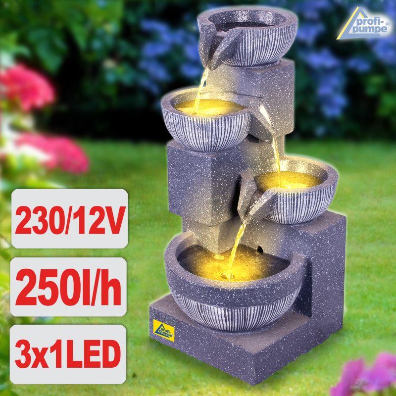 B-Ware Gartenbrunnen WASSER-SPIEL mit LED-Licht