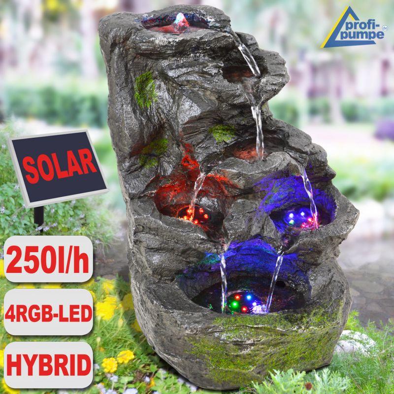 Gartenbrunnen FELS KASKADE Mit Pumpe Und 4 RGB LED Licht   Hybrid  Solarbetrieb