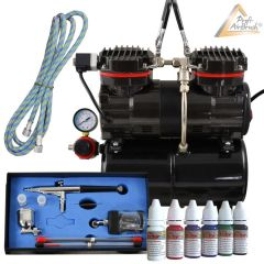 Profi-AirBrush Duo-Power Set I Color mit 6 Farben Set