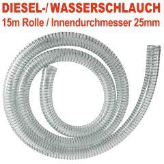 DIESEL-2 spiralverstärkter Schlauch, Innendurchmesser 25mm für 1-Tüllen, 15 m
