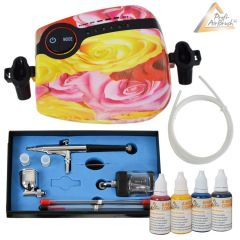 Profi-AirBrush Carry II Rosa Color II mit 4 Farben Set