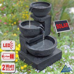Solar-Brunnen GRANITSCHALEN-KASKADE-2 mit LiIon-Akku und LED-Licht