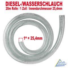 DIESEL-2 spiralverstärkter Schlauch, Innendurchmesser 25mm für 1-Tüllen, 20 m