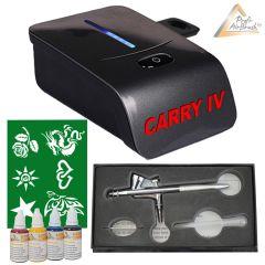 Profi-AirBrush Carry IV-TC schwarz und Fancy Tattoo Airbrush Set