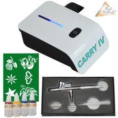 Profi-AirBrush Carry IV-TC weiß und Fancy Tattoo Airbrush Set