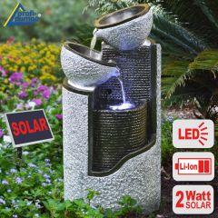 B-Ware Solar - Brunnen GRANIT-SÄULE & SCHALEN mit LiIon-Akku & LED-Licht
