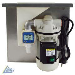 AdBlue®-TANK-SET zur Aufhängung an IBC-Containern mit selbstansaugender 230V-Pumpe, Saug- & Druckschlauch, AdBlue-Zapf-Pistole, Zubehör