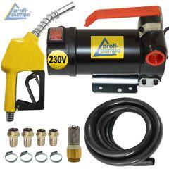 Set Diesel Star 160-4 - 230V-Pumpe mit Gummi-Saug- und Druckschlauch, Automatik-Zapfpistole und Zubehör
