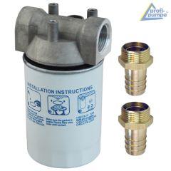 Diesel-Filter mit austauschbarem Filtereinsatz mit Messing Schlauchtülle 1 AG