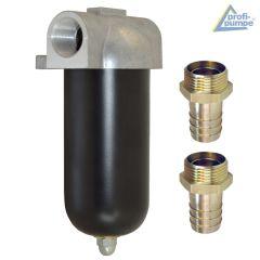 Diesel-Filter mit Alu-Gehäuse und wiederverwendbarem Siebeinsatz mit Messing Schlauchtülle 1 AG