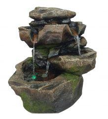 Gartenbrunnen STEIN-KASKADE SCHWARZWALD mit LED-Licht
