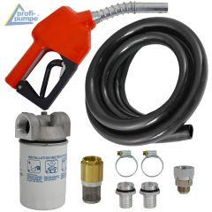 Diesel Zubehör Paket 3 mit Gummi Schlauch, Automatik-Zapfpistole und Diesel-Filter