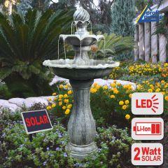 B-Ware Solar - Brunnen KLASSIK-GARTEN-2 mit LiIon-Akku & LED-Licht(Neu)