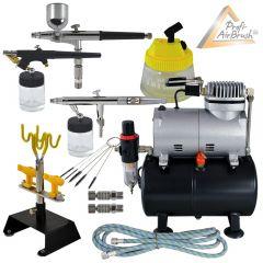 KOMPLETT-SET: Profi-AirBrush-Kompressor mit 3 Airbrush-Pistolen und viel Zubehör
