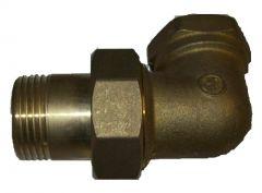 Winkeladapter Messing 90° 1 Zoll IG auf 1 Zoll AG Länge: 86mm x 49mm, mit Gummidichtung