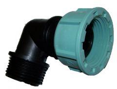 Winkelstück Kunststoff 90° 1 Zoll AG auf 1 Zoll IG Überwurfmutter