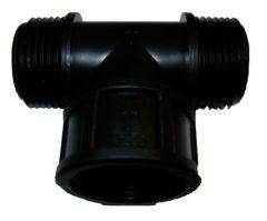 T-Stück Kunststoff 1 Zoll AG auf 1 Zoll AG, Abzweig 1 Zoll IG, Länge ca. 75mm x 58mm