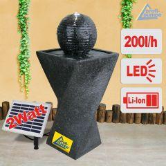 Solar Gartenbrunnen GRANIT-BLACK-2 (schwarzgrau)  mit LED-Licht und Li-Ion-Akku