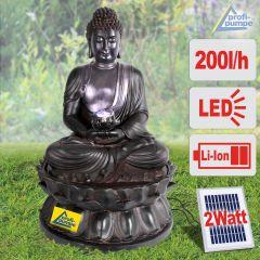 Solar Gartenbrunnen BUDDHA-ETERNITY mit LED-Licht und Li-Ion-Akku