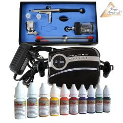Profi-AirBrush Carry II Color III mit 10 Farben Set