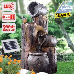 B-Ware Solar - Brunnen Wasserspiel BAUMSTUMPF & TONKRÜGE-2 mit LiIon-Akku & LED-Licht (Neu)
