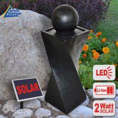 Solar - Brunnen GRANIT-BLACK-2 mit LiIon-Akku & LED-Licht