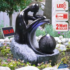 SOLAR-SPRINGBRUNNEN LED-Solar-Set LADY in BLACK