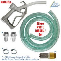 Dieselpumpen-Zubehör-Set: Zapfpistole für Dieselpumpen und Wasserpumpen, PVC-Schlauch, Rückschlagventil, Tüllen und Schlauch-Schellen