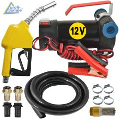 Set Diesel Star 160-1-4 - 12V-Pumpe mit Gummi-Saug- und Druckschlauch, Automatik-Zapfpistole und Zubehör