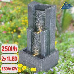 Gartenbrunnen 3-Stufige STEIN-KASKADE  mit LED-Licht