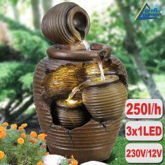 Gartenbrunnen 4-AMPHOREN mit LED-Licht
