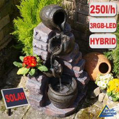 Gartenbrunnen TONZIEGEL & KRÜGE mit 4 RGB LED-Licht-230V - Hybrid-Solarbrunnen