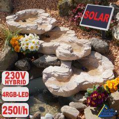 Bachlauf QUELLBACH II sandstein, 3-teilig mit 4 RGB LED-Licht-230V /  Solar-Modul