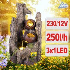 Gartenbrunnen WALDSCHATZ mit LED-Licht
