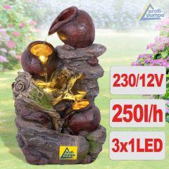 Gartenbrunnen STEINKRUG mit LED-Licht