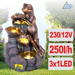 Gartenbrunnen BLÜTEN-FROSCH mit LED-Licht