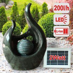 Solar - Brunnen LIEBES-FLAMME mit LiIon-Akku & LED-Licht