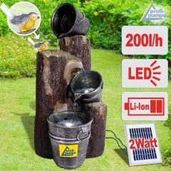 Solar - Brunnen PRETTY-BIRD Kaskade mit LiIon-Akku & LED-Licht