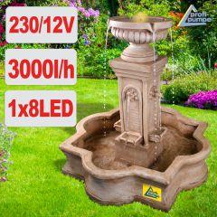 Gartenbrunnen & Wasserspiel FLORANZ mit LED-Licht