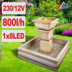 Gartenbrunnen & Wasserspiel ROM-CLASSICO mit LED-Licht